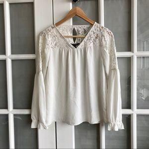 Express White Lace V-Neck Long Sleeve Blouse